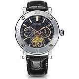 Time100 Herrenuhr Automatik Lederarmband Schwarz Saphirglas Uhr Sport Chronograph Herren mechanische Armbanduhr 5 Bar Wasserdicht #W60052G.01A