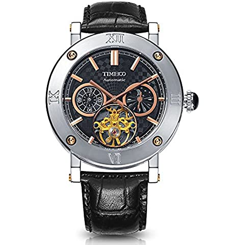 Time100 Reloj pulsera mecácino hombres de color negro