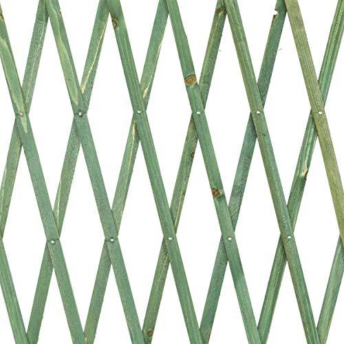 STI Traliccio in Legno Verde grigliato Estensibile 60x180 cm per Piante e Fiori