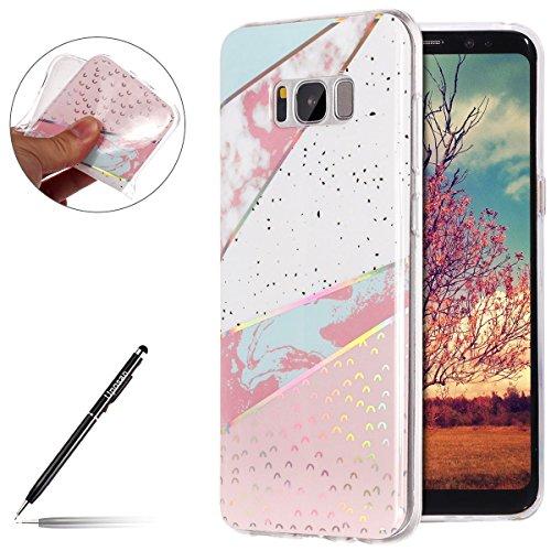 Uposao Handyhülle Marmor Samsung Galaxy S8 Schutzhülle Weich Silikon Hülle Glitzer Marmor Muster Silikon Transparent Tasche Handytasche Durchsichtige Dünne HandyHülle TPU Bumper,Rosa Weiß