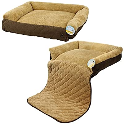 Me & My Pets Brown Fleece Cat/Dog Bed with Sofa Protector - Choice of Size
