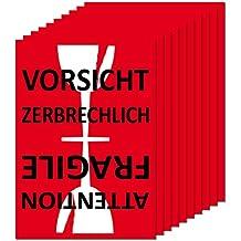 Aufkleber Sticker Etiketten Label Vorsicht Glas zerbrechlich Attention Fragile Versand Umzug Paket (10)
