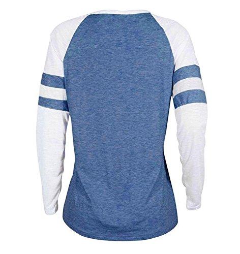 T Shirt Damen mit Langarmshirt Rot Lang Bluse Tops Sweatshirt Frauen Gestreift Blau