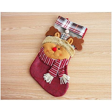 Decorazioni di Natale 45cm a scacchi Elk Natale calze sacchetti del regalo del pupazzo di neve regalo di Natale Borse