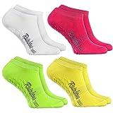 Rainbow Socks 4 Paar Kurze ANTIRUTSCH-Socken by Baumwollereiche STOPPERSOCKEN, ideal für: Glatte Fußböden Yoga Trampolinspringen WEIß GRÜN ROSA GELB 44/46 Oeko-Tex-Zertifikat, Made in EU