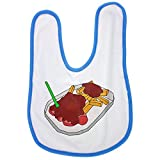 Currywurst Sausages and French Fries with a Curry Salsa Ketchup and a Little Plastic fork. Baby Bib in Blue, Baby Boy Bibs, Dribble Bibs, cool Baby Boy Bibs, Best Baby Bibs, Best Bibs, Best Dribble
