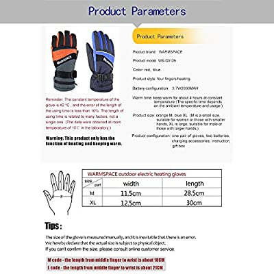 Ruoxiang Electric Heated Gloves, USB Rechargeable Ski Motorcycle Snow Mitten, Anti Slip Waterproof&Windproof Hand Warmer Accessories for Outdoor, Blue, L Size