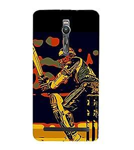 PrintVisa Designer Back Case Cover for Asus Zenfone 2 ZE551ML (Cricket Ball Bat Stumps Runs Sore Goal Player )