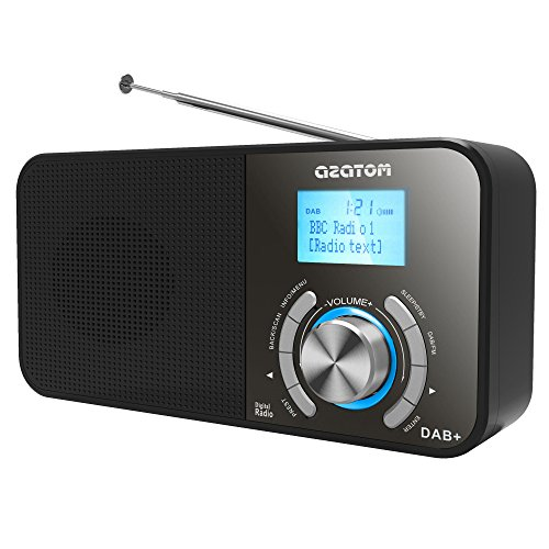 AZATOM® AZATOM ® Classic P1 DAB /DAB  FM Digital Radio - Alarm - Clock - Battery - Mains power - Black