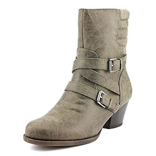 en DINORAH Runder Zeh Leder Western Stiefel Grau Groesse 7 US /38 EU (Western Stiefel Für Frauen Größe 7)
