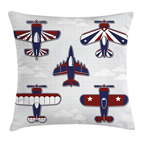 Juziwen Nursery Throw Pillow Cushion Cover, America Inspired Toy Planes with Stripes and Stars Patriotic Illustration, Decorative Square Accent Pillow Case,White Blue and Red 16x16inch Stripe Zip Fleece