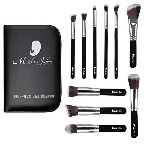 Juego de pinceles de diseño para maquillaje10 pinceles Kabuki profesionales de Malika Jafrin, para sombra de ojos, base, contouring, iluminador y polvos fijadores