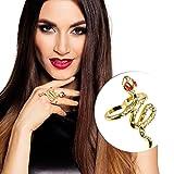 Amakando Antike Göttin Fingerring - Gold - Ägyptischer Schlangenring Goldring Ägypterin Cobra Fingerschmuck Orient Kostüm Accessoire Ägyptischer Schlangenring