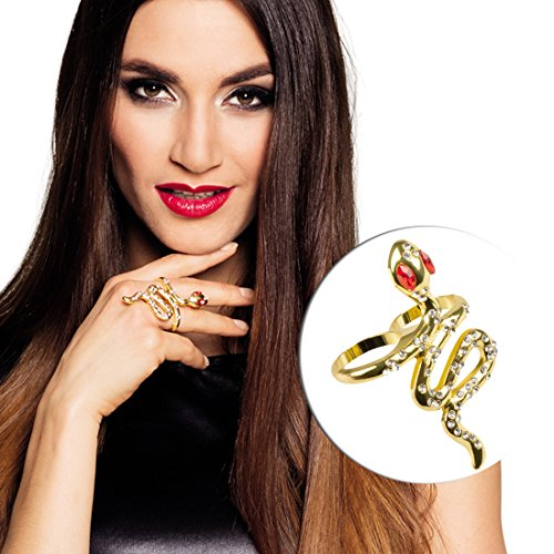 NET TOYS Ägyptischer Schlangenring Cleopatra Ring Schlange Gold Antike Göttin Fingerring Cobra Fingerschmuck