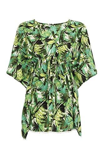 Boutique, Damen Limettengrün Palme Sommer Urlaub Strandbedeckung, Strampelanzug, Top Top