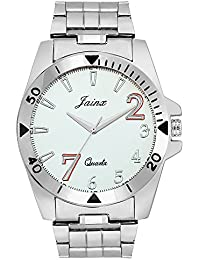 Jainx White Dial Steel Chain Analog Watch For Men & Boys - JM256
