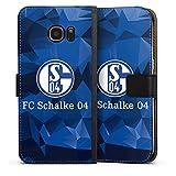DeinDesign Tasche kompatibel mit Samsung Galaxy S7 Edge Leder Flip Case Ledertasche FC Schalke 04 Camouflage S04
