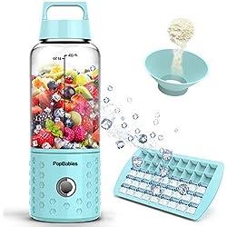 PopBabies Mini Mixer, Smoothiemaker per USB aufladbar, stärker und schneller bis zu 22,000 U/min, 4 Edelstahlmesser, Smoothie Mixer mit EIS-Behälter (BPA-frei, FDA-zugelassen)