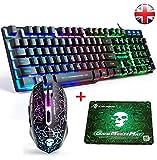 FELiCON® T6 Game Keyboard Mouse Imposta Rainbow LED retroilluminato USB ergonomico Multimedia Gamer Gaming Keyboard Mouse Combo Ottico 2400 DPI 6 Pulsanti + Free Mouse Pad UK Layout
