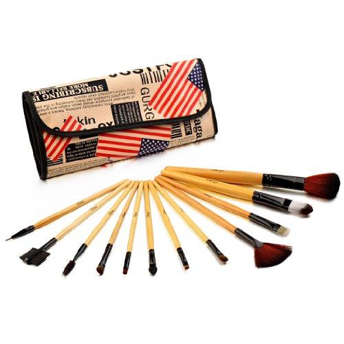 Glow Coffret 12 Pinceaux Maquillage et leur Trousse de Rangement, American Flag