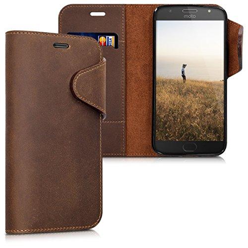 kalibri Motorola Moto G5S Plus Hülle - Leder Handyhülle für Motorola Moto G5S Plus - Handy Wallet Case Cover