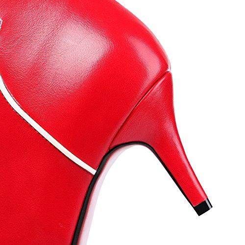 VogueZone009 Damen Spitz Zehe Gemischte Farbe Niedrig-Spitze Mittler Absatz Stiefel Rot