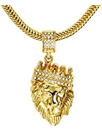MESE London Lion Head With Crown Necklace 18K Gold Plated Chain Bling King Pendant - Elegant Gift Box