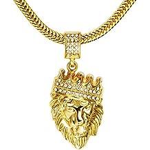 MESE London Collar Cabeza De León Con Corona Cadena Bañada En Oro 18K Colgante Bling Bling - Elegante Caja De Regalo