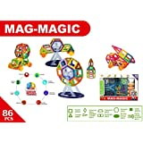 Happy GiftMart DIY 86 Pieces 3D Magical Magnetic Construction Stacking Building Block Set Learning & Creativity Puzzle Game Educational Toy Set Gel Mag Gelmag