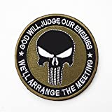 Tactical Military Army Embroidered Patch Round Punisher Skull Tape Morale Badge Armband Patches