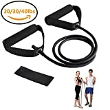 Resistance Bands, Exercise Bands with Handles, Home & Gym Strength Training Tubes, Resistance Loop Bands for Men/Women, Workout Bands for Shoulder, Arm and Leg, Fitness Strength Training Equipment for Improving Mobility 40 lbs (Black)