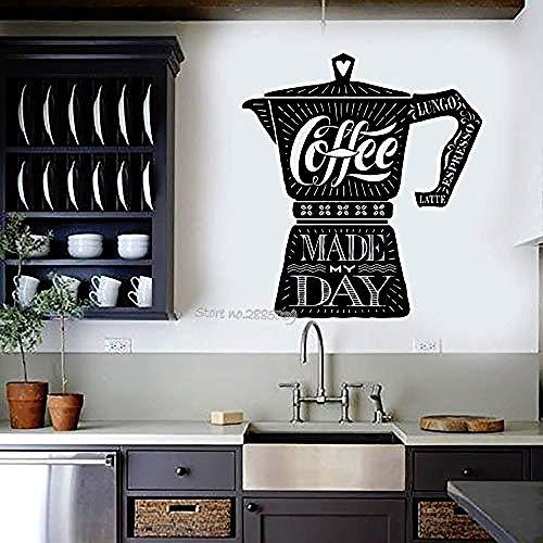 Wandaufkleber Kaffeemaschine Zitat Vinyl Wandaufkleber Cafe Shop Küche Aufkleber Wandtattoo Mode Qualität Wandbild Moderne Wohnkultur Design @ 42x49 cm