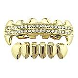 Le griglie dei denti Hip-Hop placcate oro hanno fissato i cappucci dei denti del rhinestone della griglia superiore & inferiore rimovibili per gli adulti Denti Hip Hop placcati oro ( Colore : Oro )