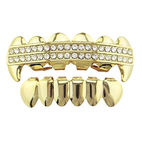Peggy Gu Gold überzogene Hip Hop-Zahn-Grill-Ober- und Unterseite Grill-Strass-Zahnkappen abnehmbar für Erwachsene einfache Montage (Farbe : ()