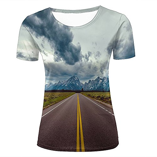 Women 3D Printed Fashion T-Shirts Snow Mountain Highway Picture Photography Casual Short Sleeve Shirts Novelty Tees XXL
