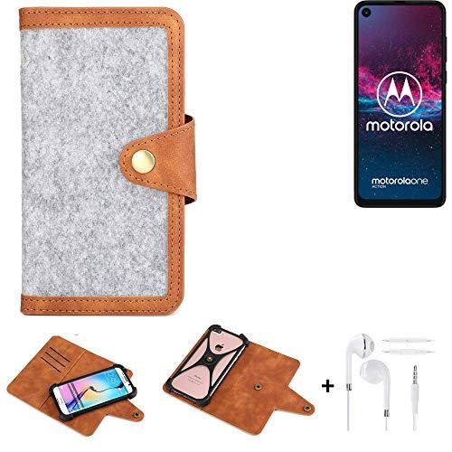K-S-Trade Etui De Téléphone Portable + écouteurs pour Motorola One Action Housse De Protection Felt PU Cuir Gris Clair Marron (1x)