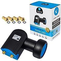 HB-Digital LNB LNC - Conector con contactos chapados en oro para cable de televisión de alta definición, para FULL HD TV 3D, extensible, incluye enchufe
