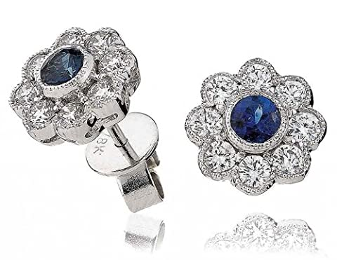 1.15CT Certified G/VS2 Blue Sapphire Centre Flower Shape Diamond Stud Earrings in 18K White Gold