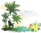 INDIGOS UG - WANDTATTOO / Wandsticker / Wandaufkleber / Aufkleber bunt ME038 Surfer Strand Palmen Wasser Beachparty 120 x 96 cm