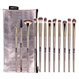 Make Up Pinsel Set 12 Stück Pinselset Kosmetikpinsel Schminkpinsel Set Augenpinsel Foundation pinsel Lidschatten Lippenpinsel Puder pinseltasche Blush Eyeshadow Eyeliner brush Schönheit Tools