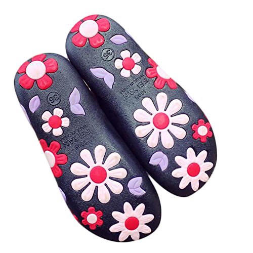 Mode féminine Artificielle PU 3D Flower Confortable Slipper Black