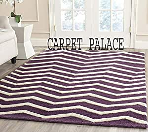 Carpet palace Handwoven Pure Wollen Modern Carpets Loop/Cut Pile Collection for Bedroom-Drawing Room-Floor-Dining Hall (5x8 Feet) Color Purple & White