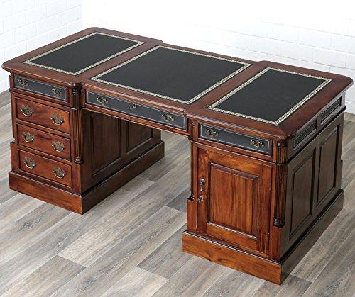 MOREKO Antik Stil Schreibtisch Massiv-Holz Partnerdesk Mahagoni Arbeitstisch Schreibeinlage schwarz - Stil Mahagoni Schreibtisch