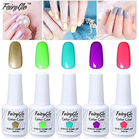 FairyGlo 5 PCS Gelpolish UV LED Nail Polish Soak Off