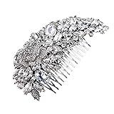 UEETEK Accessories Kunstperle Glatt Blume Blumig Braut Hochzeit Haar Kamm(Silber)