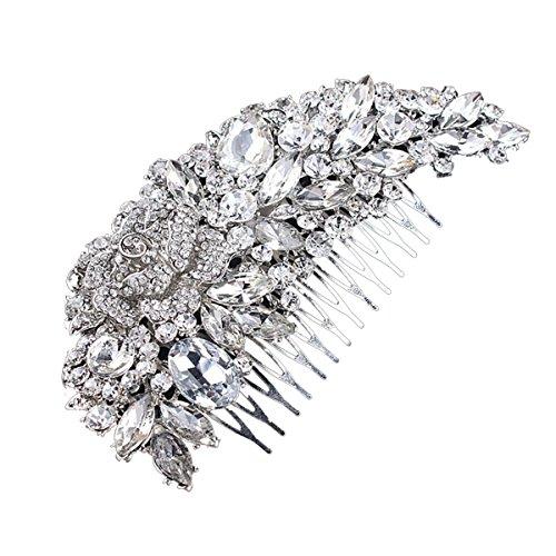 UEETEK Accessories Kunstperle Glatt Blume Blumig Braut Hochzeit Haar Kamm(Silber) Blume-haar-kamm-hochzeit