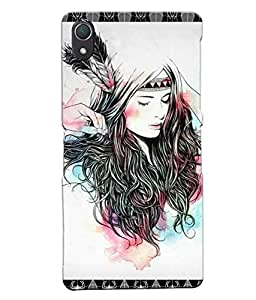 Fuson Feather Pattern Girl Back Case Cover for SONY XPERIA Z2 - D3879