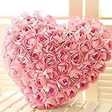 Woopower Cuscino a Forma di Cuore, Exquisite Satin Roses Divano Cuscino Cuscino di Peluche con Cuscino Inserts-Valentine S Day Wedding Gift Party Home Decorazione, Pink, s:27 * 25cm