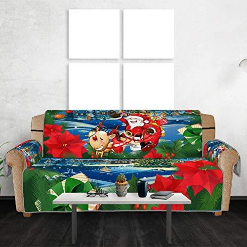 WEISY Christmas Couch Covers Schonbezug Sofabezüge Möbelschutz Waschbare Bezüge Vor Kindern, Hunden, Katzen, Haustieren schützen -