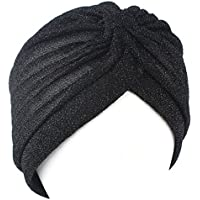 QHGstore Mujeres Twist plisado volante Chemo Pre atado Turbante Cap abrigo de pelo Cover Up negro